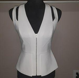BCBG sleeveless peplum zip front top white